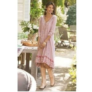 Soft Surroundings Pink Embroidered Lace Trim Dress